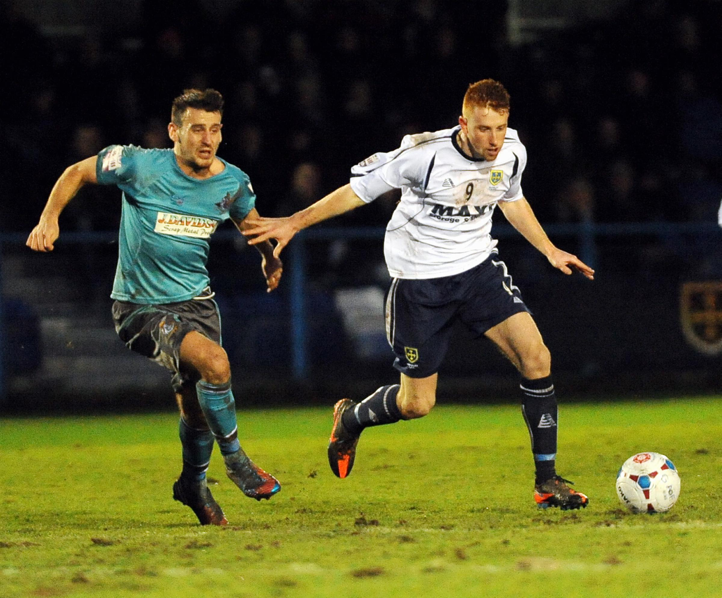 Alex Johnson, right, equalised for Guiseley