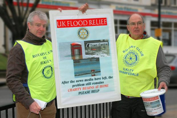 Vernon Young, left, of the Ilkley Rotary Club and Andrew Broughton, of the Ilkley Wharfedale Rotary Club, collect money