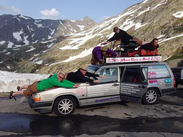 Monte Carlo or Bust Banger Rally 2013 participants 'The Old Farts' in the French Alps
