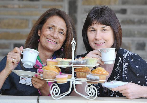 Linda Enderby and Joanne Cain from Cancer Support Bradford and Airedale, ahead of the charity's Big Brew campaign