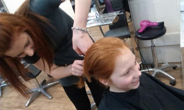 Bethany Metcalfe saying goodbye to her long locks, which she is sending to the Little Princess Trust