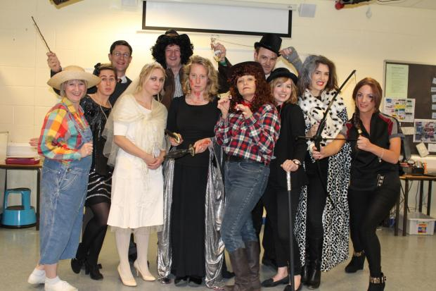 Staff in the English department at Ilkley Grammar School dressed up as literary characters for World Book Day