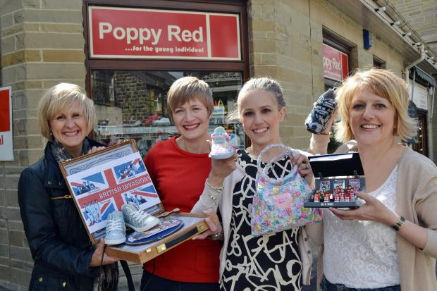 Owners of Poppy Red Jenny Rhodes, second from right, with her mum Helen Rhodes, right, outside the shop with Suzanne Johns of Approach PR, far left, and Kay Walsh