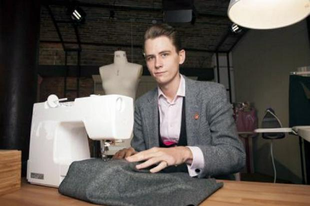 Simon Cantrill at his sewing machine
