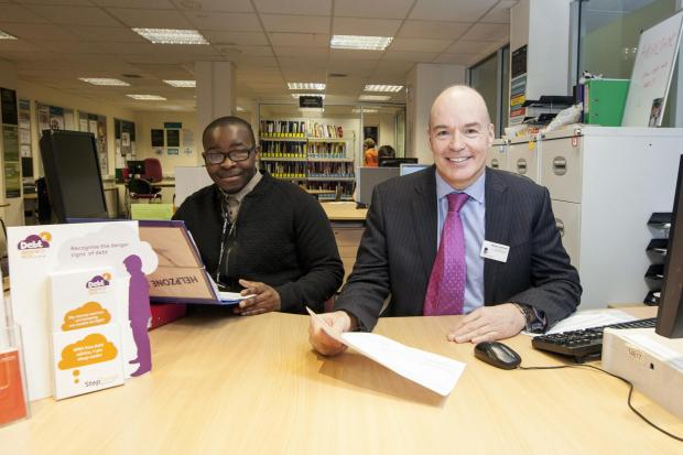 Brian Archer, right, executive director for commercial development at Leeds City College with apprentice Tawanda Mukombiwa