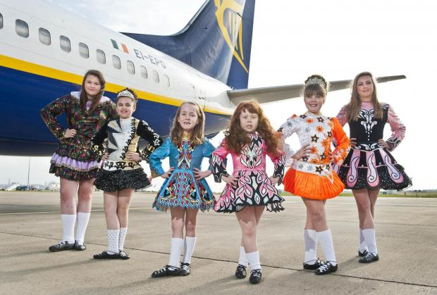 Dancers from Tierney's School of Irish Dancing celebrate St Patrick's Day at Leeds-Bradford Airport