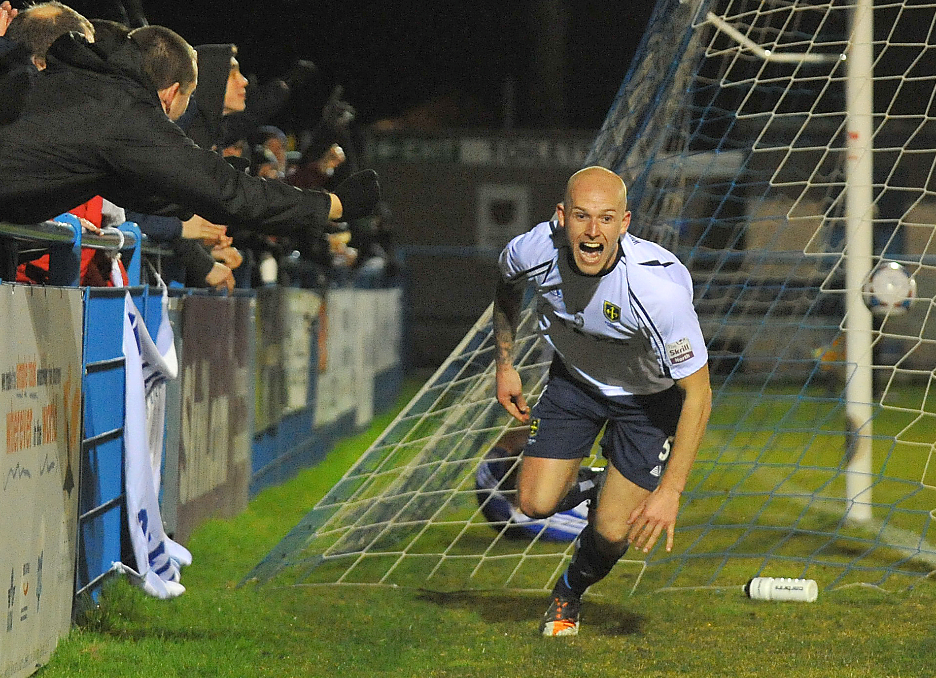 NO RESPITE: Danny Ellis scores in Tuesday's 3-1 win against Stalybridge, which was the Lions' fourth midweek game in a row – and that pattern continues until the end of the season