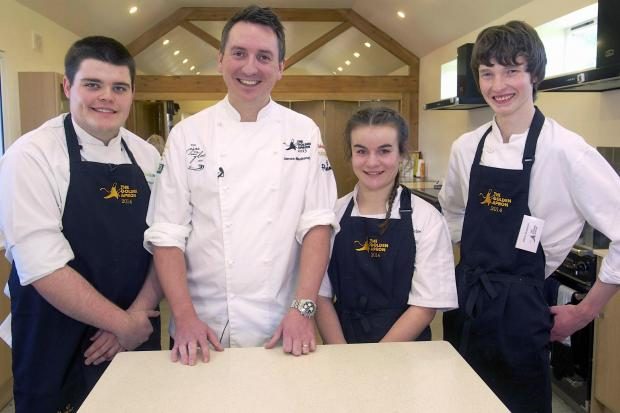 Wharfedale Observer: Otley's Oliver Robinson, far right, with chef James Mackenzie, of the Michelin starred Pipe and Glass, second from left, with James Fawcett and  Georgie Smithson-Brown
