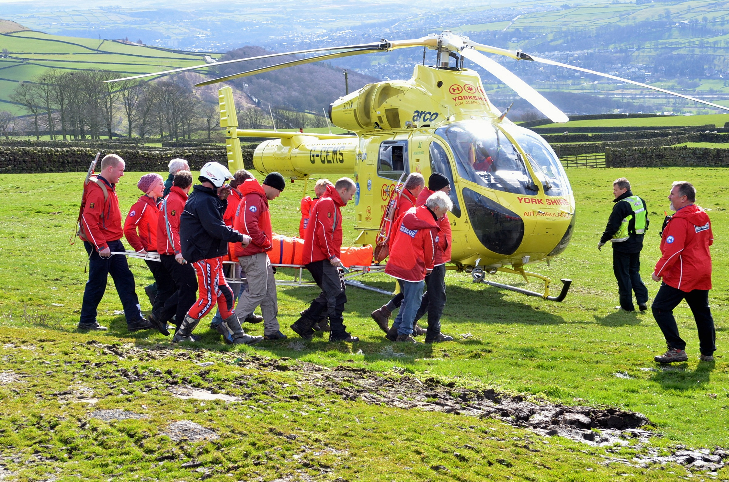 Andy Howe being airlifted to hospital after crashing at Addingham Moorside