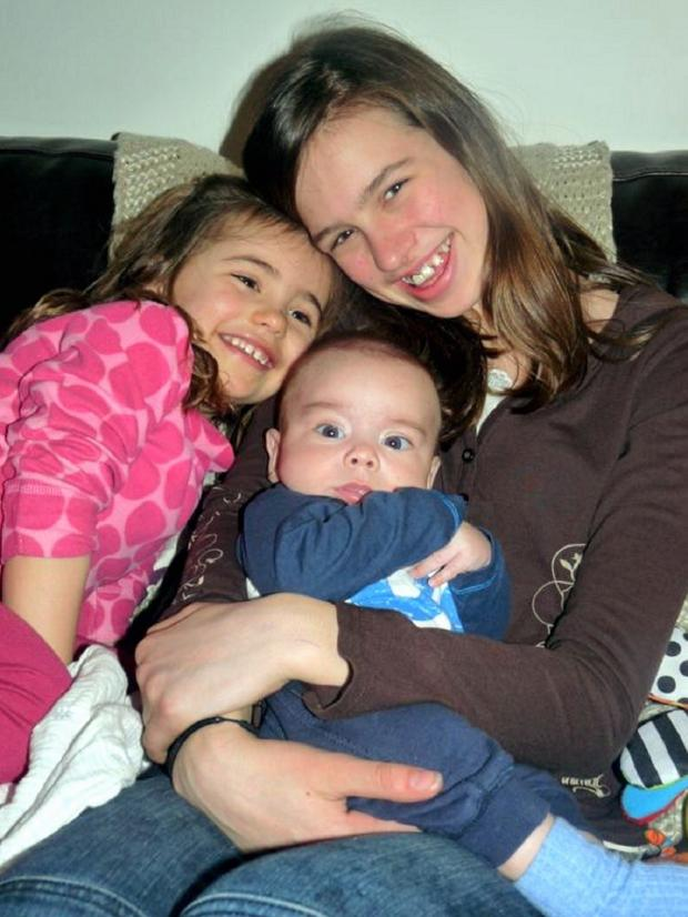 Wharfedale Observer: Guiseley youngster Wes Knight with his sisters Amelie (left) and Isobel (right)