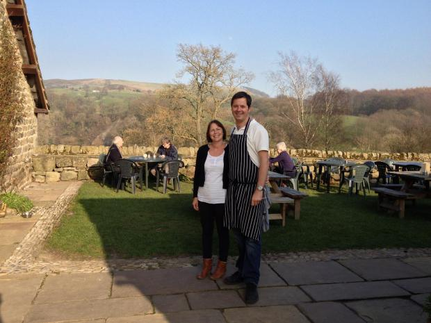 Steven and Helen Harper outside their Tea Cottage at Bolton Abbey
