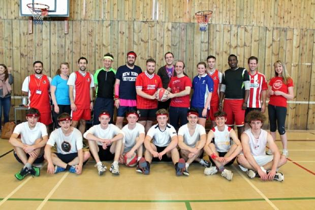 Staff and pupils who took part in a basketball match to raise money for Sports Relief at Ilkley Grammar School