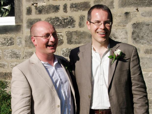 Rob, left, and Owen Claxton-Ingham's marriage in Canada is recognised
