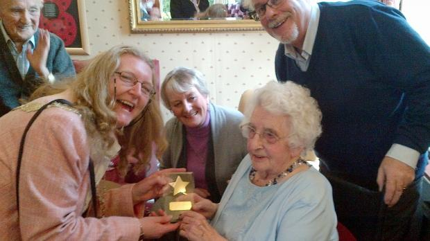 Deputy Lord Mayor of Bradford Councillor Joanne Dodds (left) visits Marjorie Anson on her 102nd birthday