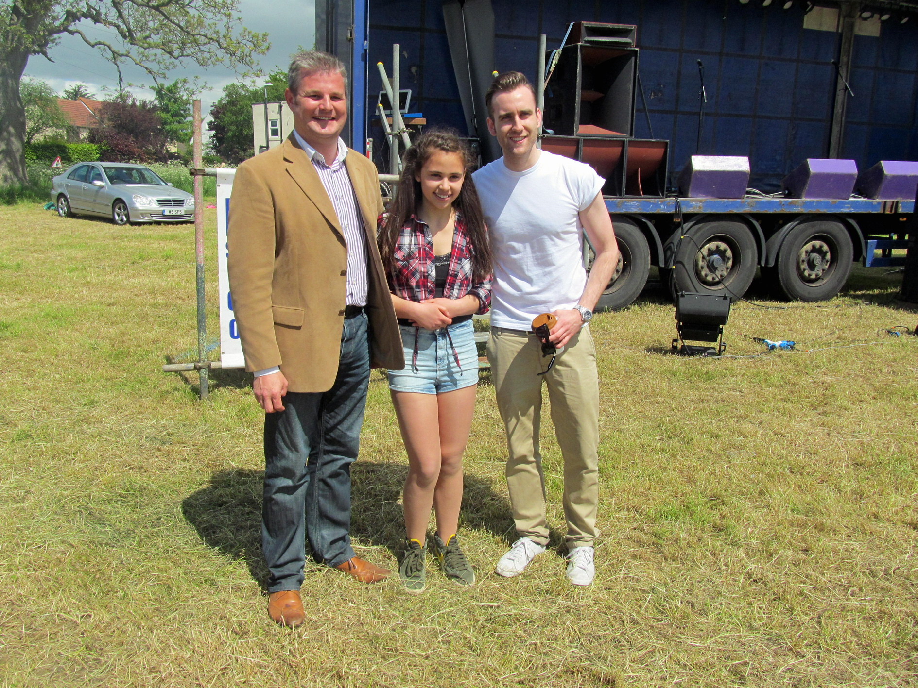 MP Stuart Andrew, left, with Bethany Hare and actor Matthew Lewis at last year's Rawdon Fun Day
