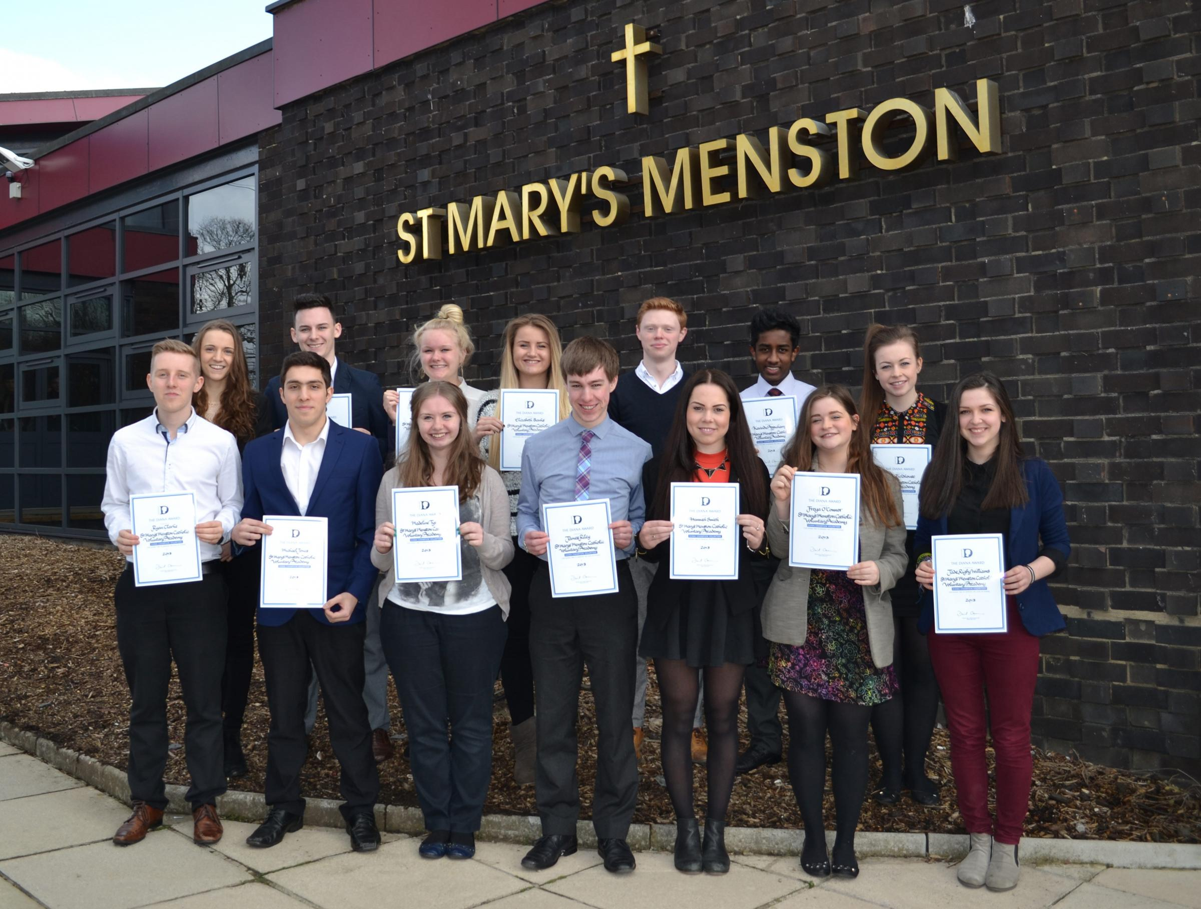 St Mary's students with their Diana Awards