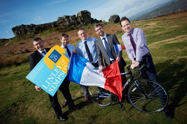 Launching their new Tour de France themed boards are, from the left, Mark Christopher, Mike Moon, Anthony Metcalfe, Steve Kilby and Paul Bridgeman