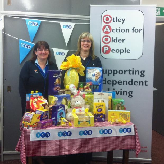 Wharfedale Observer: Staff members at Otley's TSB bank, Wendy McGeough and Karen