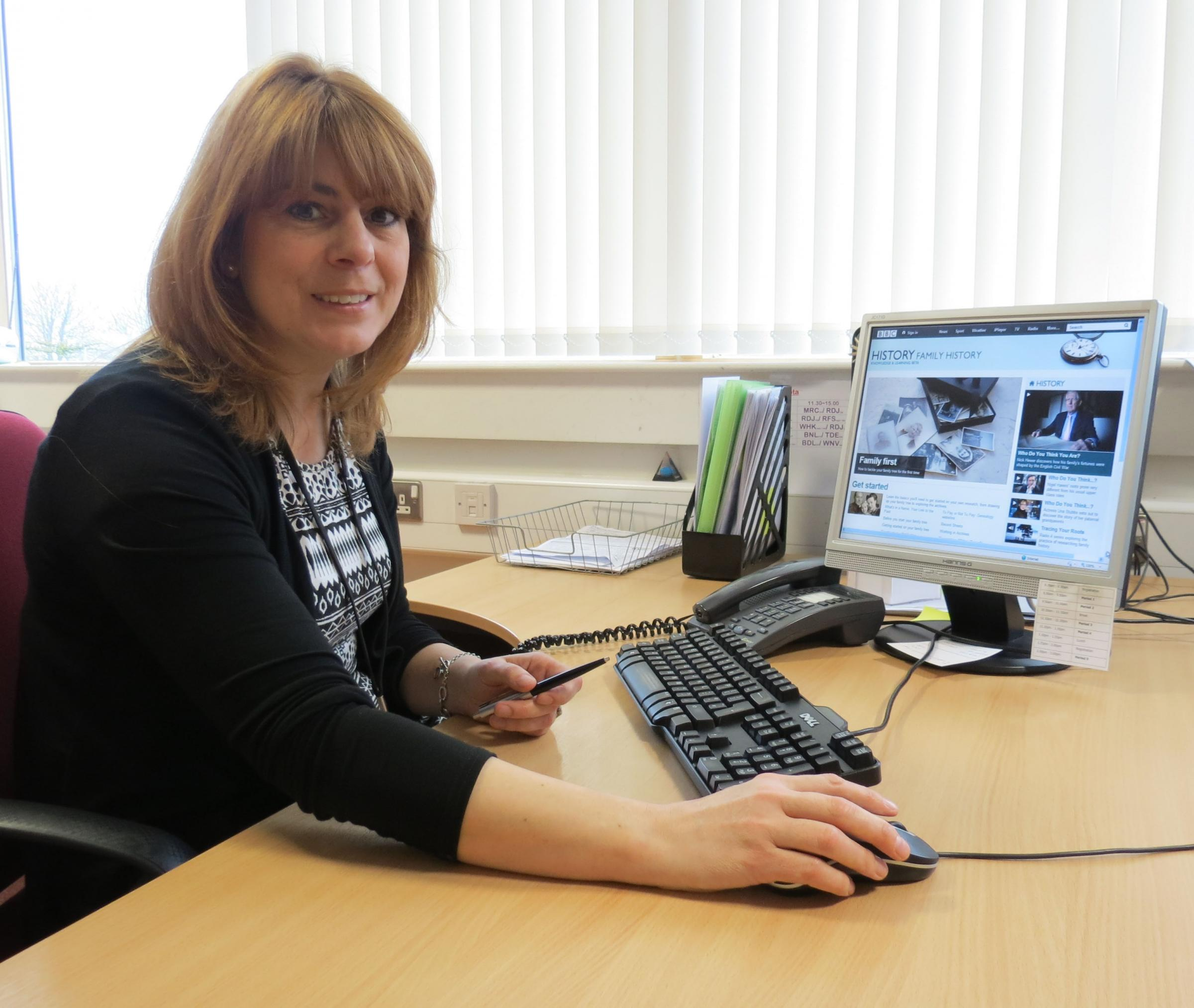 Emma Treweek, who is among those looking forward to starting the new IT-based Family History community education course at Prince Henry's Grammar School in Otley this month