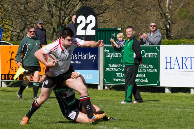 Wharfedale Observer: Hat-trick hero JH Johnson steps out of a tackle Picture: ruggerpix.com