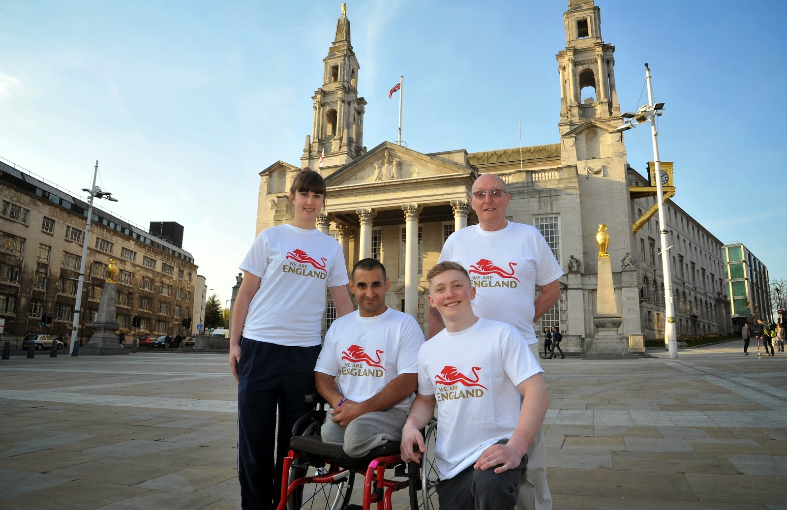 Commonwealth Games batonbearers outside Leeds Civic Hall (from left) Laura Beardsmore, Ali Jawad, Nile Wilson and Norman Stephens