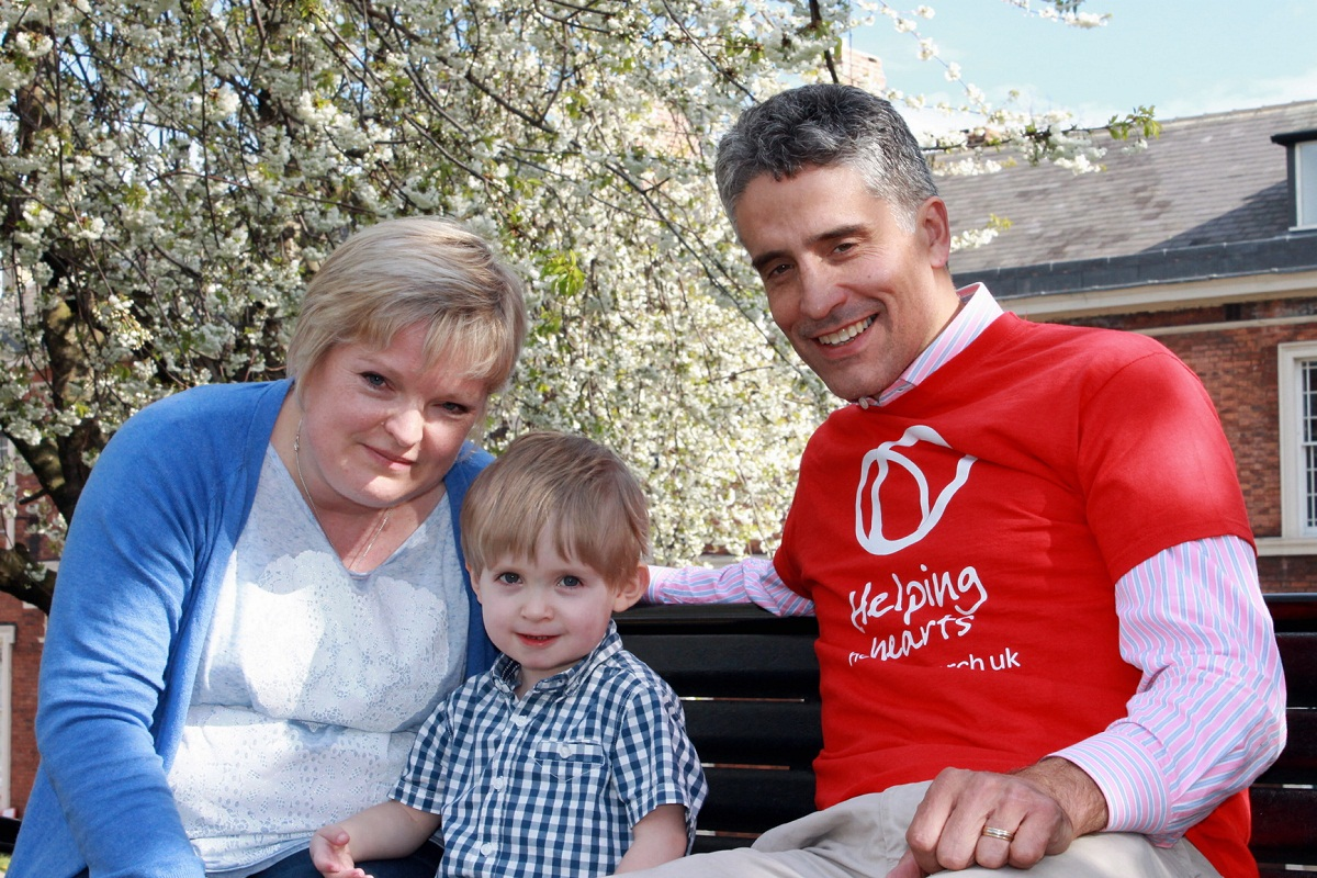 Dominic Irvine with Riley Platts and his mum Kathryn Walker