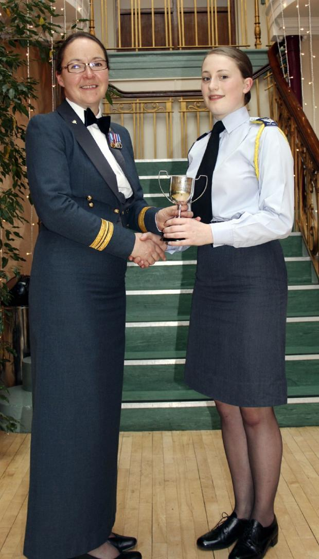 Wharfedale Observer: Flight Sergeant Kjersti Moore being presented the Musician of the Year award by Squadron Leader Sue Leighton