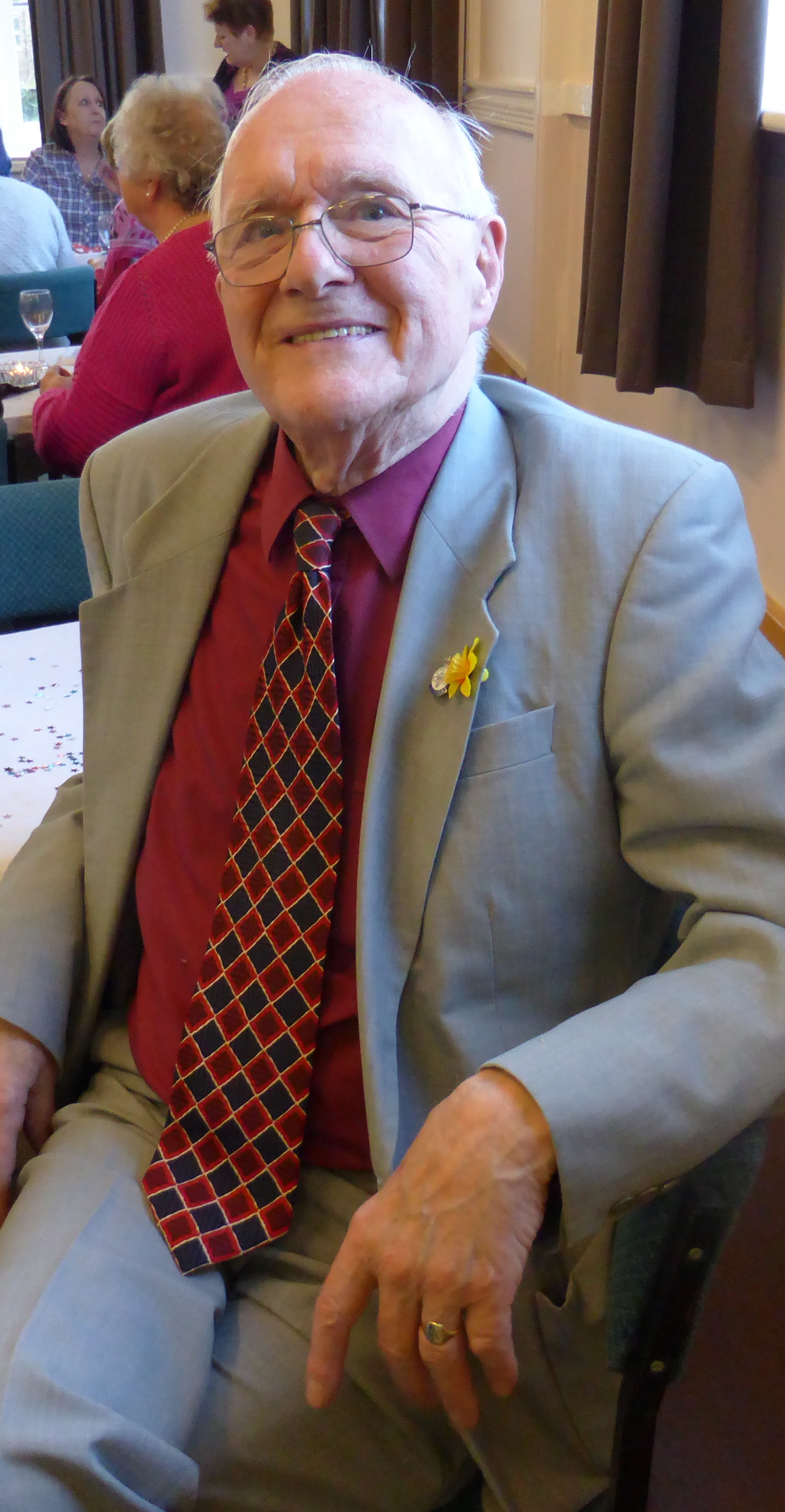 Derek Oldfield at his 90th birthday party. Picture by Sue Piper