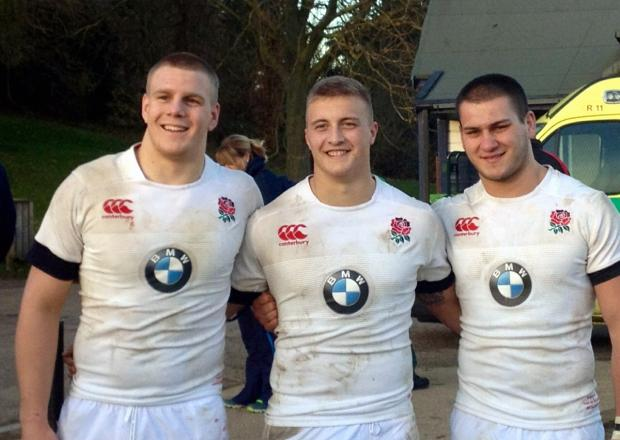 Englsand Under-20s players Paul Hill, left, and Jack Walker, centre, who havde been selected in the