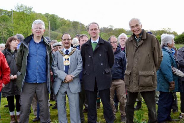 Wharfedale Observer: Steve Parkes of Wharfedale Naturalists, the Lord Mayor Of Bradford, Councillor Khadim Hussain, Councillor Andrew Thornton and Wharfedale Naturalists Society president, Peter Riley, at the official opening of Ben Rhydding Gravel