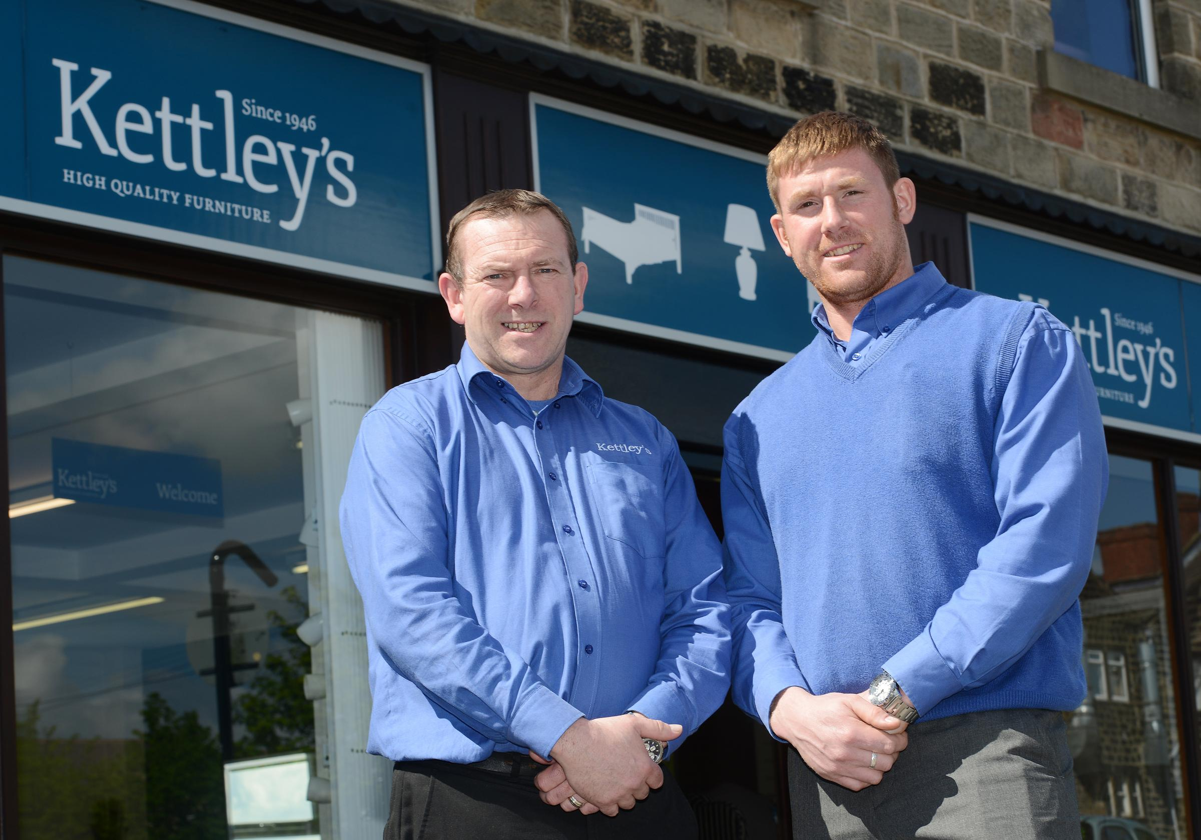 David Butler and Andrew Collop outside Kettley's, Ivegate, Yeadon
