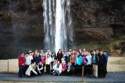 Students at Seljalandsfoss Waterfall