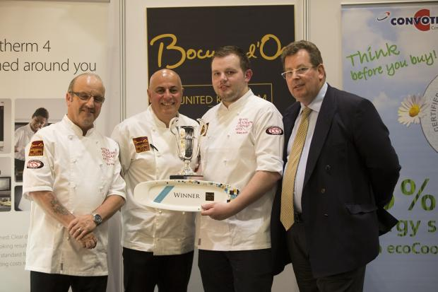 Wharfedale Observer: Adam Smith, second right, with, from the left, Nick Vadis (Culinary Director at Compass Group and UK candidate 2009 & 2013 ), Andres Antona (former chef & restaurateur) and John Williams (chairman of the Bocuse d'Or UK team)