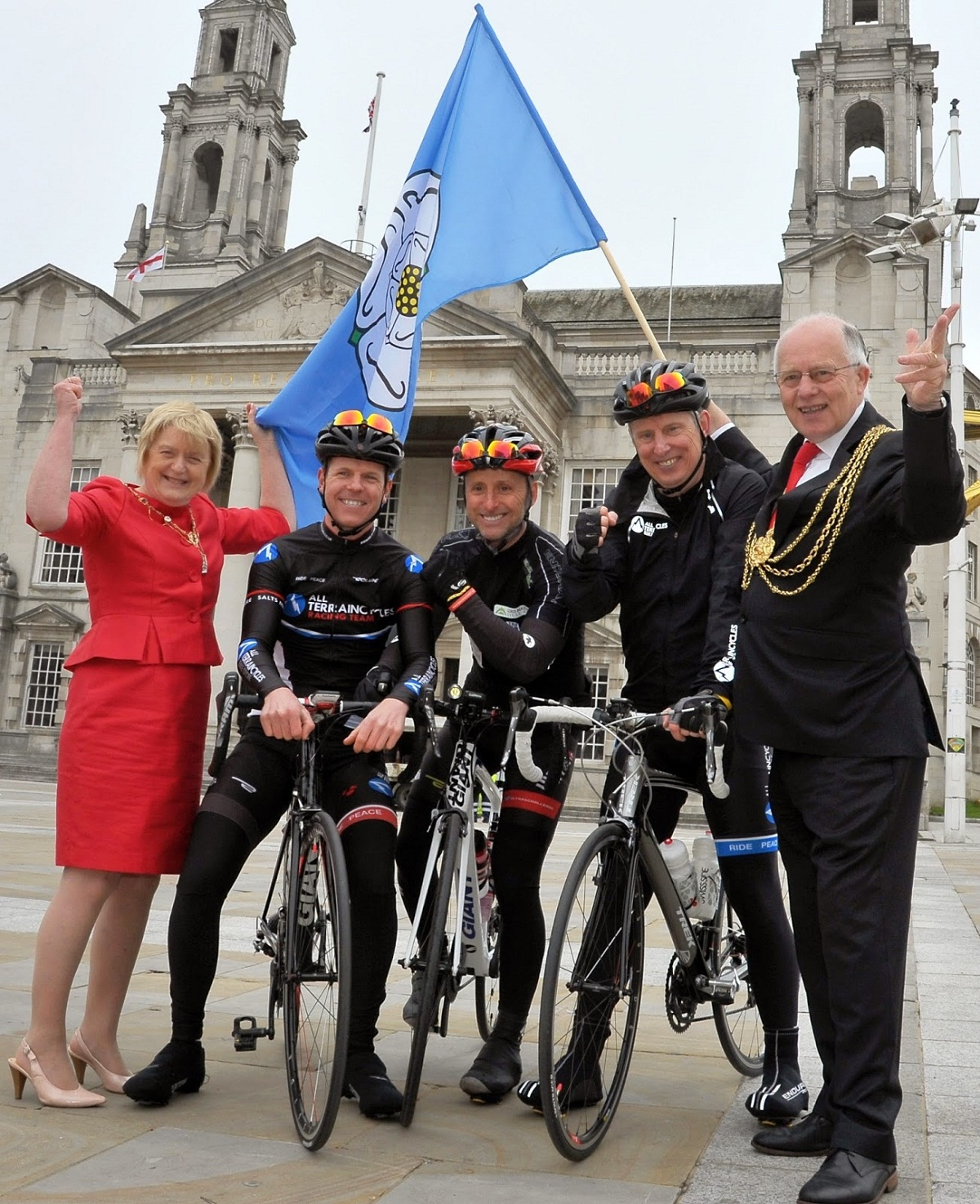 Riders Iain Harris, Andy North and Ben Wood with the Lady Mayoress Edna Murray and the Lord Mayor of Leeds Councillor Thomas Murray, before starting their journey to Dortmund