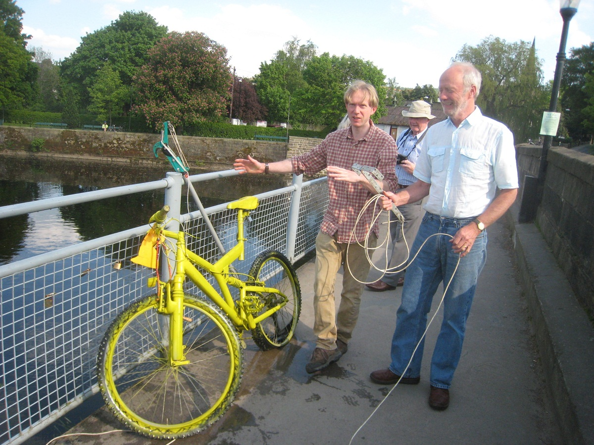 Group members rescue bike from river after Otley Show mischief