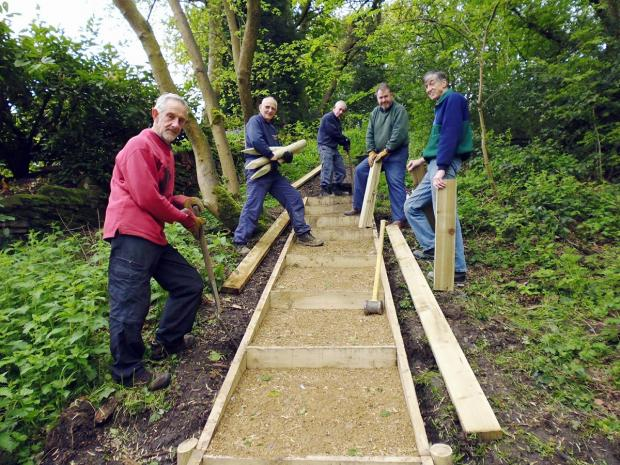 Volunteers working on the new footpath.  Photograph by Barry Wilkinson/Friends of Ilkley Moor
