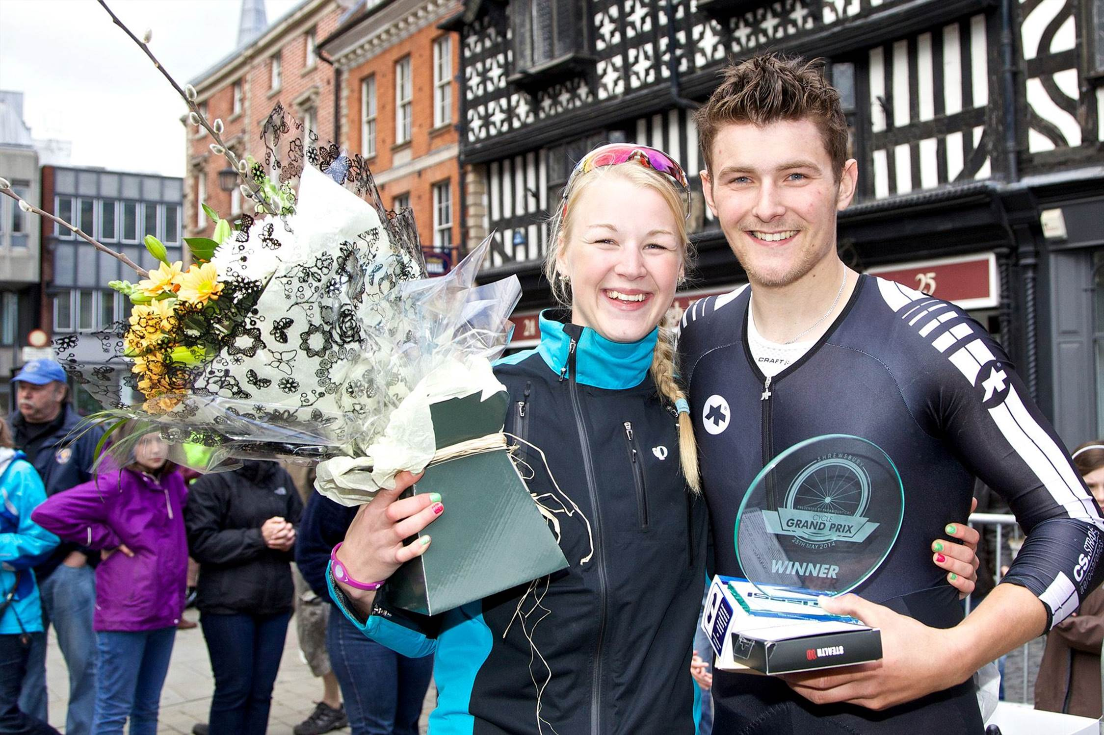 Ilkley's Brit Tate (20) and boyfriend Robert Watson (22) were both triumphant at the Shrewsbury Cycle Grand Prix held on Sunda