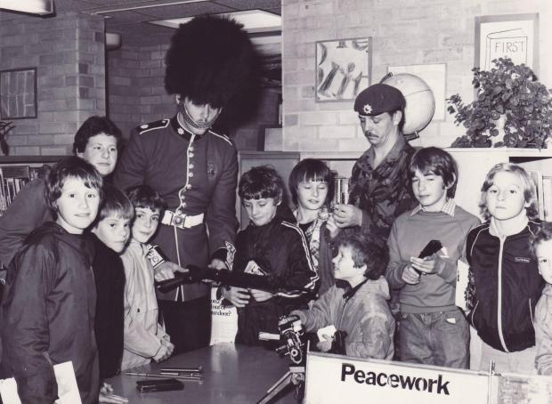 These boys look as though they were enjoying a visit by soldiers to their school in 1981. The photograph was taken at The Whartons primary school in Otley.