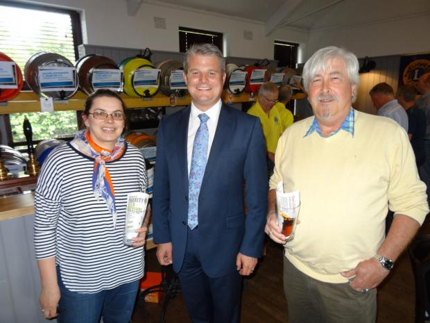 (6880740) Wesley's mum Catherine (left) and grandad Trevor Platt (right) with MP Stuart Andrew.