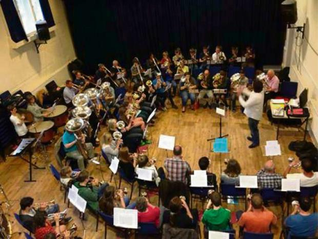 Wharfedale Observer: Otley Brass Band rehearsing at Otley Courthouse