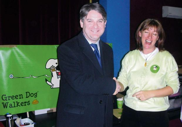 Julie with Philip Davies at the launch, the other is of a local dog walker and Green Dog pledger.  (7055585)