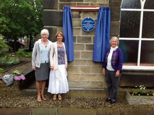 Wharfedale Observer: Caption: Pastor William Gale's three granddaughters, Ros Hay, Stella Imong and Felicity Gibling, at the unveiling of the blue plaque at Mount Hermon Chapel, Addingham
