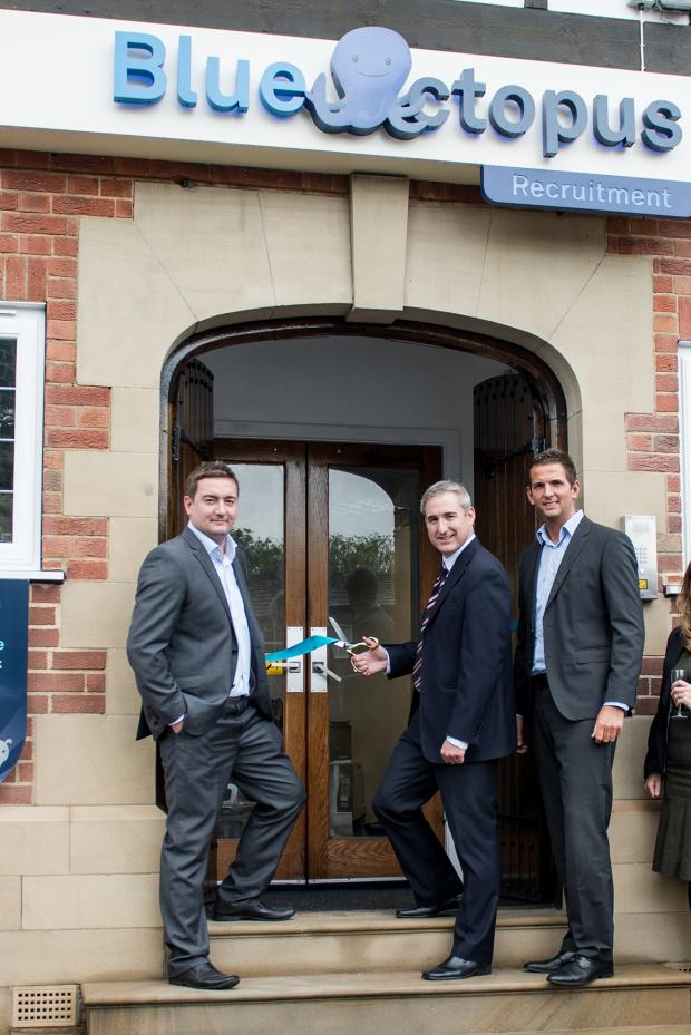 Wharfedale Observer: MP Greg Mulholland, flanked by the co-founders and joint managing directors Chris Coleman (left) and Liam Coleman (right), opening Blue Octopus's new Otley base.PHOTOGRAPHY BY JBCREATIVES.CO.UK