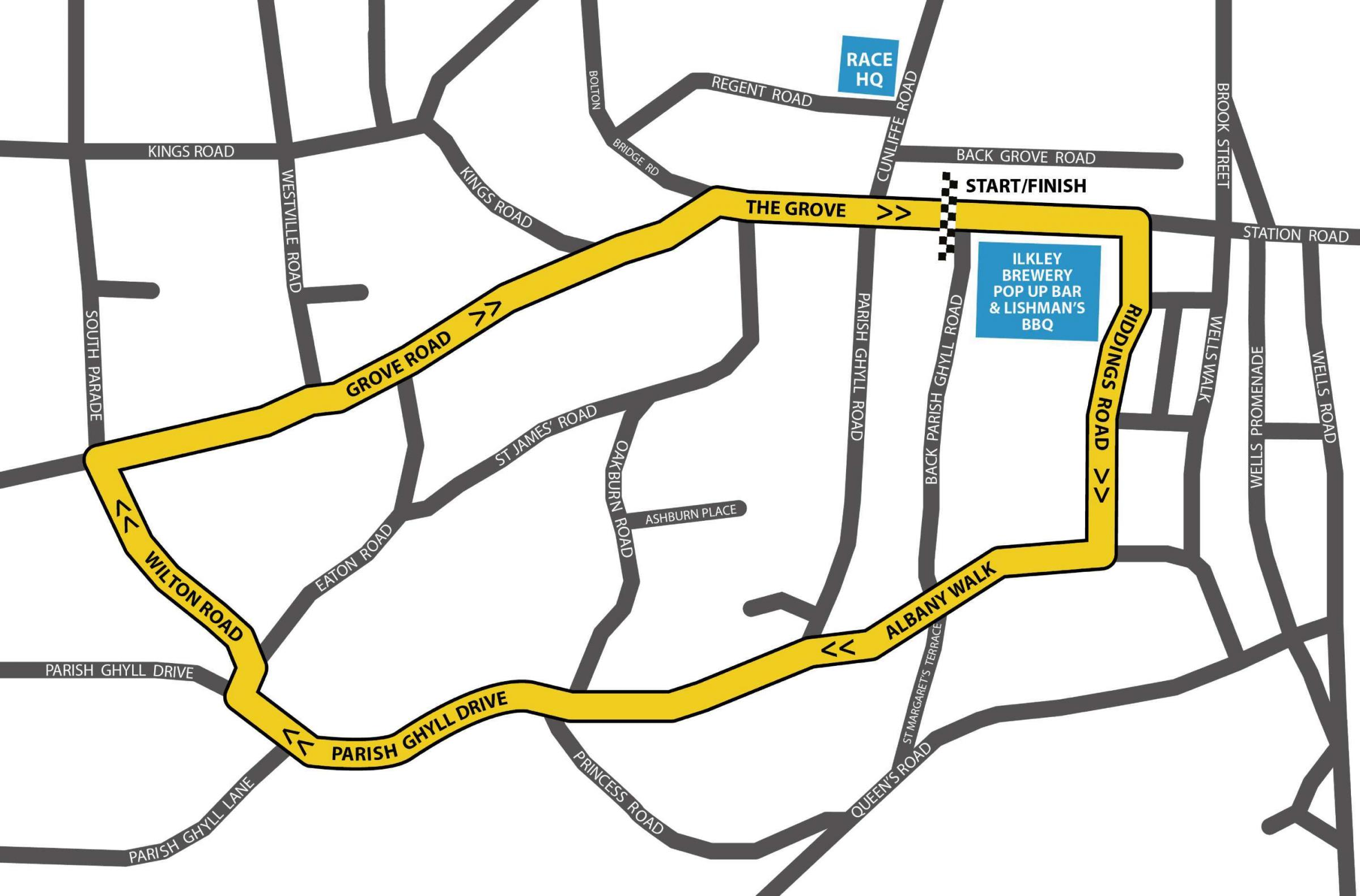 A spectators guide to the course route for the first Ilkley Town Centre races