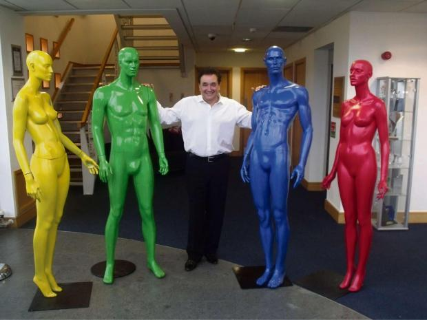 Chief executive of thebigword.com Larry Gould with his mannequins