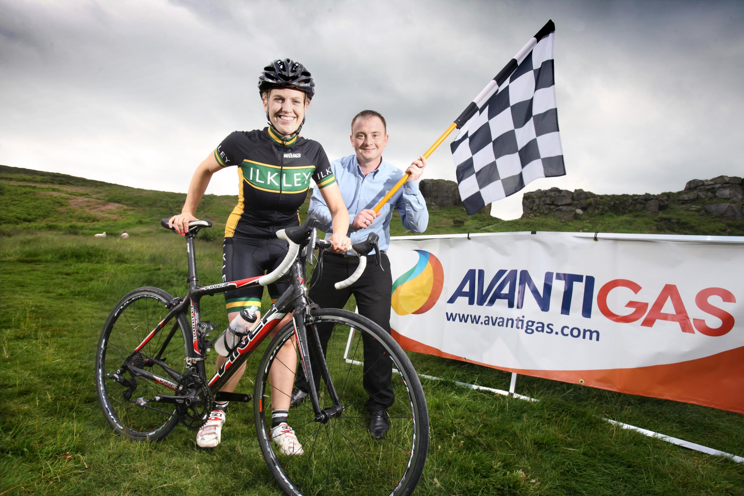 Picture:  Lorne Campbell / GuzelianReady for the race – Emily Hallworth from Ilkley Cycling Club and Dan Eadson from AvantiGas at the Cow and Calf on Ilkley Moor