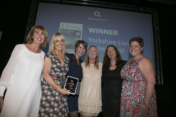 Wharfedale Observer: Receiving Yorkshire Living's award from Ann McCracken, O2 Communications North, are: Jenny Thompson, Publisher; Maxine Gordon, Feature Writer; Sue Mayman, Advertising Executive; Francine Clee, Editor, and Becky Cheeseman, Designer