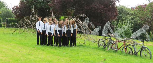 Prince Henry's Grammar School students with their Tour de France sculpture.