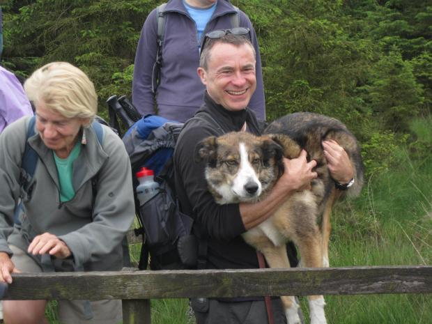 "A walker's dog gets a helping hand during a ""bumper"" Otley Walking Festival."