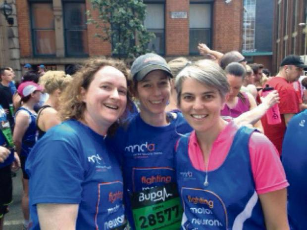 Left to Right: Vicky Cooke, Emma Edwards, Anna Dixon, taking part in the Manchester 10k